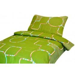 Bavlněné povlečení na dvě lůžka - Zelené s barevnými kruhy - Aaryans