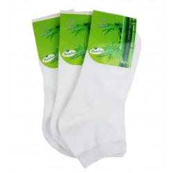 Dámské kotníkové bambusové ponožky - bílé - 3 páry