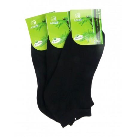 Dámské kotníkové bambusové ponožky - černé - 3 páry