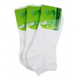 Pánské kotníkové bambusové ponožky - bílé - 3 páry