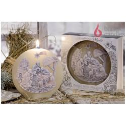 Dekorativní vonná svíčka - Betlém hnědý disk, 480g