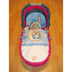 Peřinky do kočárku pro panenky - Sova, modrá