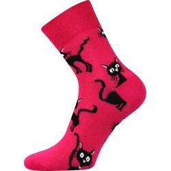 Dámské ponožky - Kočka - magenta - Moda Čapek