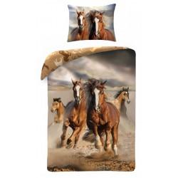 Bavlněné povlečení na jednolůžko - Divocí koně - SDS