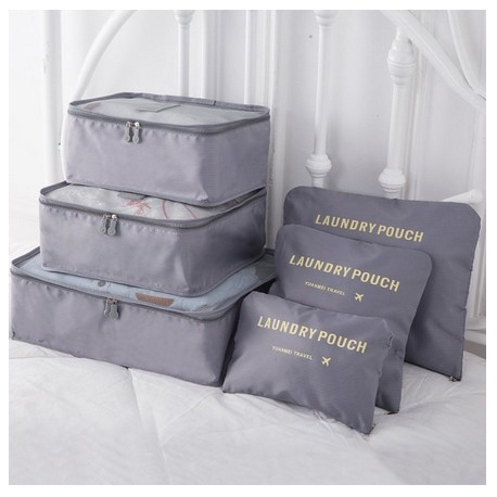 Praktické cestovní tašky a organizéry na cesty, 6 kusů v balení - šedá
