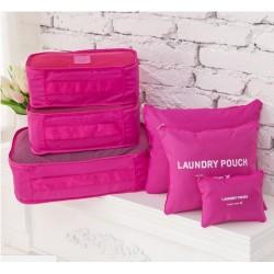 Praktické cestovní tašky a organizéry na cesty - 6 ks - růžové