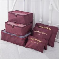Praktické cestovní tašky a organizéry na cesty, 6 kusů v balení - vínová