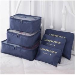 Praktické cestovní tašky a organizéry na cesty - 6 ks - tmavě modré