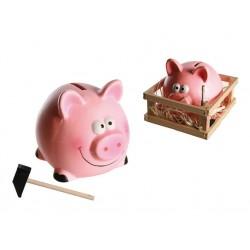 Pokladnička - prasátko s kladívkem