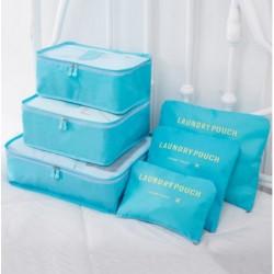Praktické cestovní tašky a organizéry na cesty - 6 ks - světle modré