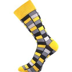 Unisex ponožky - Crazy mozaika - žluté - Lonka