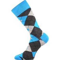 Unisex ponožky - Crazy káro - modré - Lonka