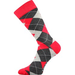 Unisex ponožky - Crazy káro, červené