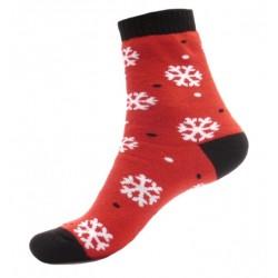 Dámské termo ponožky - Vločky - červené