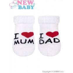 Kojenecké froté ponožky - I Love Mum and Dad - bílé - New Baby
