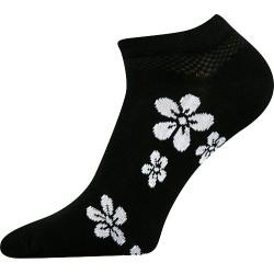 Dámské kotníkové ponožky - s bílými květinami