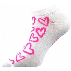 Dámské kotníkové ponožky - Srdíčka růžové