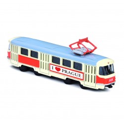 Kovová tramvaj na zpětný chod - Tatra T3 - 16 cm - I Love Prague - Rappa