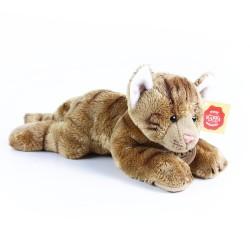 Plyšová kočka ležící hnědá 18 cm