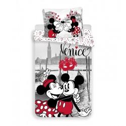 Bavlněné povlečení na jednolůžko - Mickey a Minnie v Benátkách