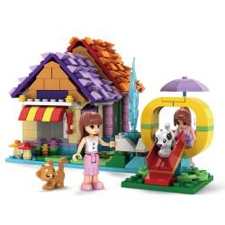 Stavebnice pro dívky - domek s klouzačkou - 424 dílků - AUSINI
