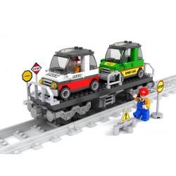 Stavebnice - vagon s auty - 186 dílků - AUSINI