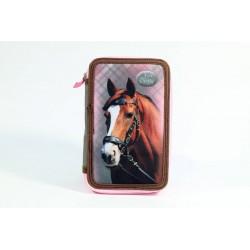 Dvoupatrový penál s vybavením - Nice and Pretty - kůň