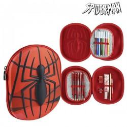 Trojitý penál s vybavením - Spiderman 58409 - červený