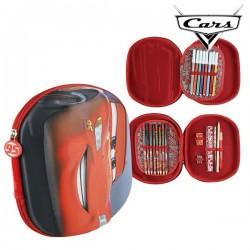 Trojitý penál s vybavením - Auta 93493 - červený