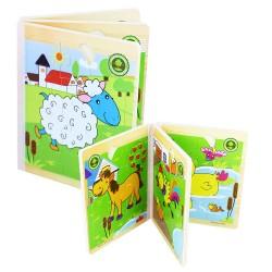 Dřevěná kniha s puzzlemi - domácí zvířátka
