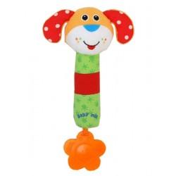 Dětská pískací plyšová hračka s chrastítkem - pejsek - Baby Mix