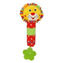 Dětská pískací plyšová hračka s chrastítkem - lvíček - Baby Mix