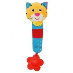 Dětská pískací plyšová hračka s chrastítkem - tygřík - Baby Mix