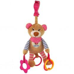 Dětská plyšová hračka s vibrací - růžový medvídek - Baby Mix