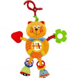 Dětská plyšová hračka s chrastítkem - kočička - Baby Mix
