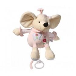 Dětská plyšová hračka s hracím strojkem - růžová myška - Baby Ono