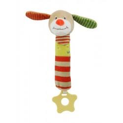 Dětská pískací plyšová hračka s kousátkem - pejsek - Baby Mix