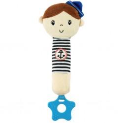 Dětská pískací plyšová hračka s kousátkem - námořník - Baby Mix