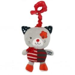 Dětská plyšová hračka s hracím strojkem - červená kočička - Baby Mix