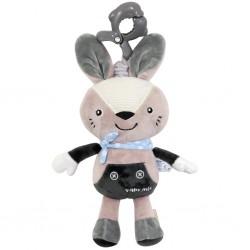 Dětská plyšová hračka s hracím strojkem - šedý králíček - Baby Mix