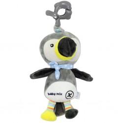 Dětská plyšová hračka s hracím strojkem - šedý tukan - Baby Mix