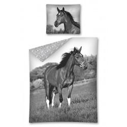 Dětské povlečení - Kůň - černobílé - 140x200