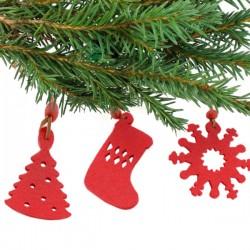 Sada vánočních dekorací - červená - 9 ks