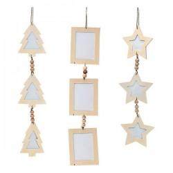 Vánoční řetěz - dřevěný - 47 x 10 x 0,5 cm