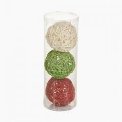 Vánoční baňky - červená, zelená, bílá - 3 ks