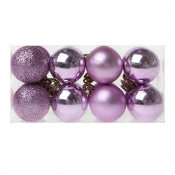 Vánoční baňky - fialové - 4 cm - 16 ks