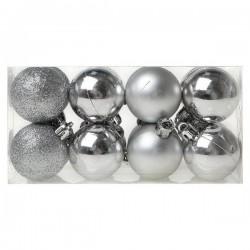 Vánoční baňky - stříbrné - 4 cm - 16 ks