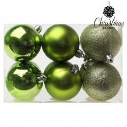 Vánoční baňky - zelené - 6 cm - 12 ks