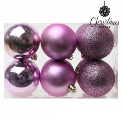 Vánoční baňky - fialové - 6 cm - 12 ks