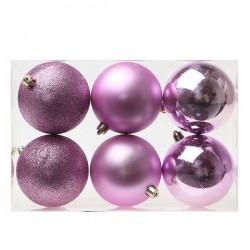 Vánoční baňky - fialové - 8 cm - 6 ks